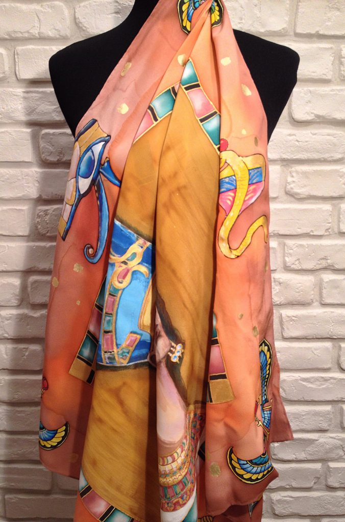 Queen of Egypt. Hand painted silk scarf