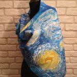 Starry night Van Gogh. Hand painted silk square scarf