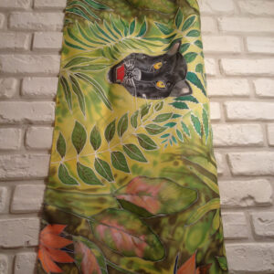 The black panter. Hand painted silk scarf