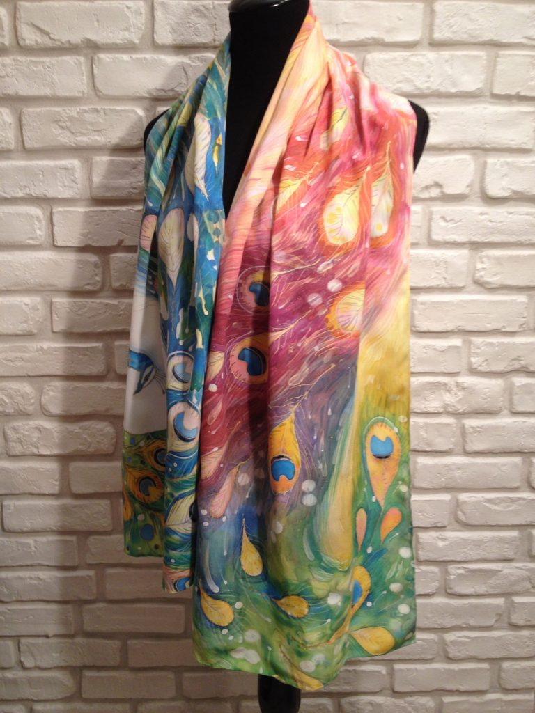 The magic peacock. Hand painted silk scarf