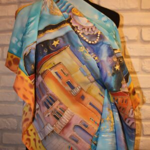 Night in Venice. Hand painted silk square scarf