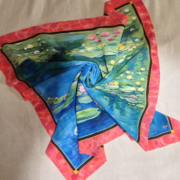 Water lilies Monet. Hand painted silk square scarf