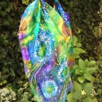 Dandelion. Hand painted original silk scarf. Unique piece