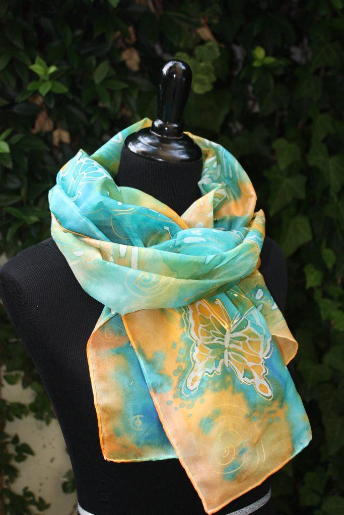 Butterflies. Hand painted long silk scarf