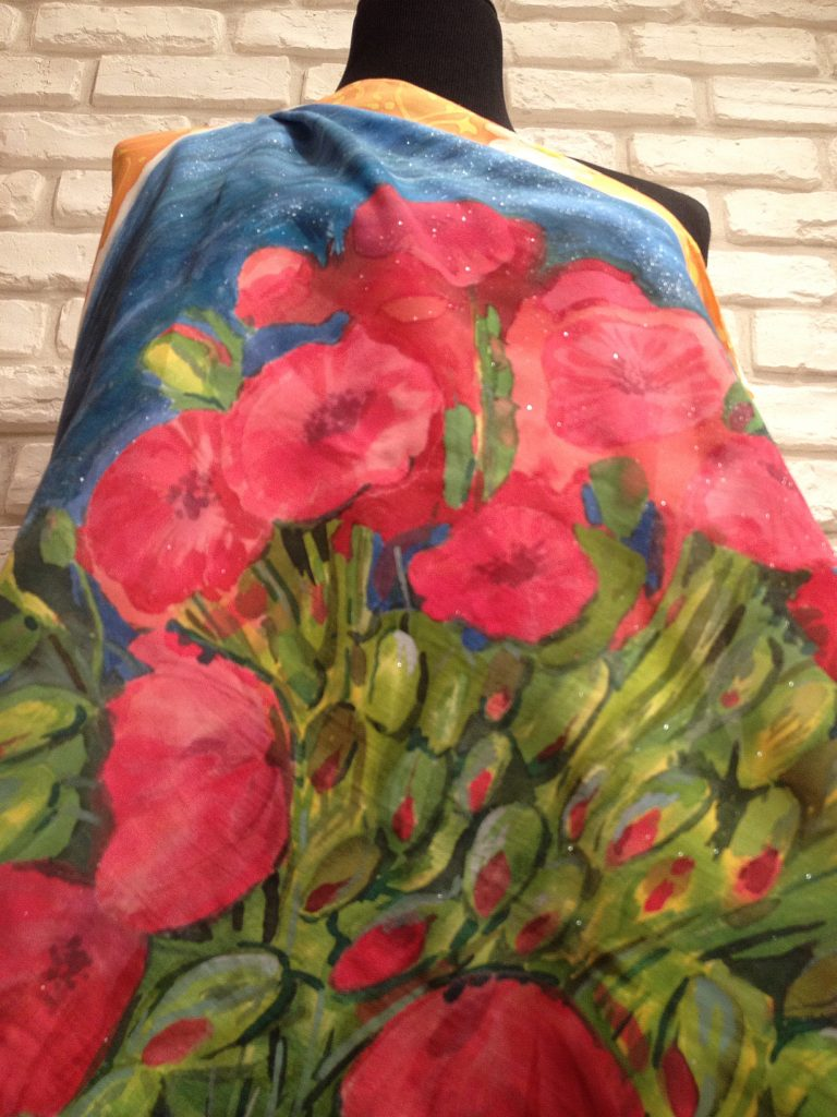 Red poppies Van Gogh. Hand painted silk square scarf.