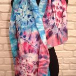 Rose and blue spirals. Hand painted silk scarf.