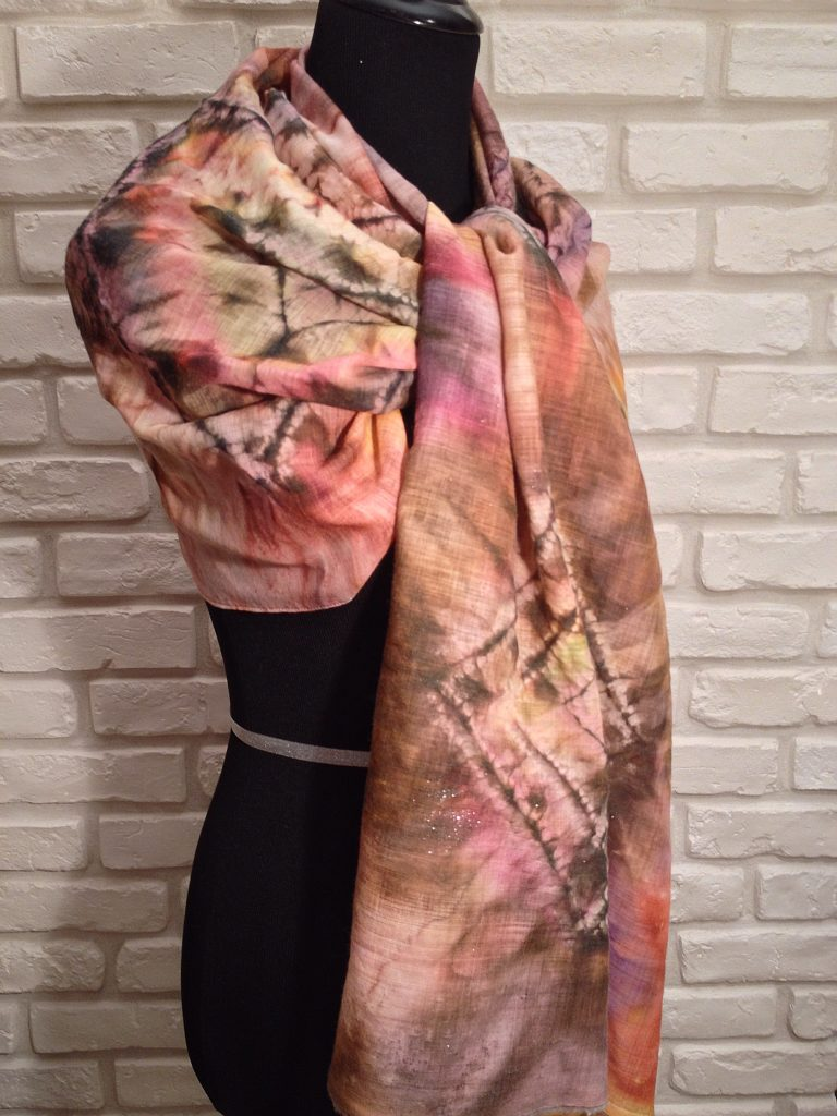 Beige symphony. Hand painted wool mousseline wrap.
