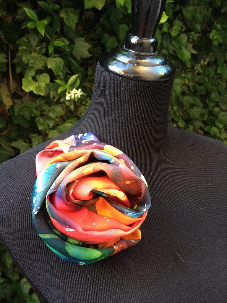 Red flowers. Hand painted silk scarf.