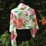 Rose garden. Hand painted silk scarf.
