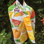 Fruit salad. Hand painted silk scarf.