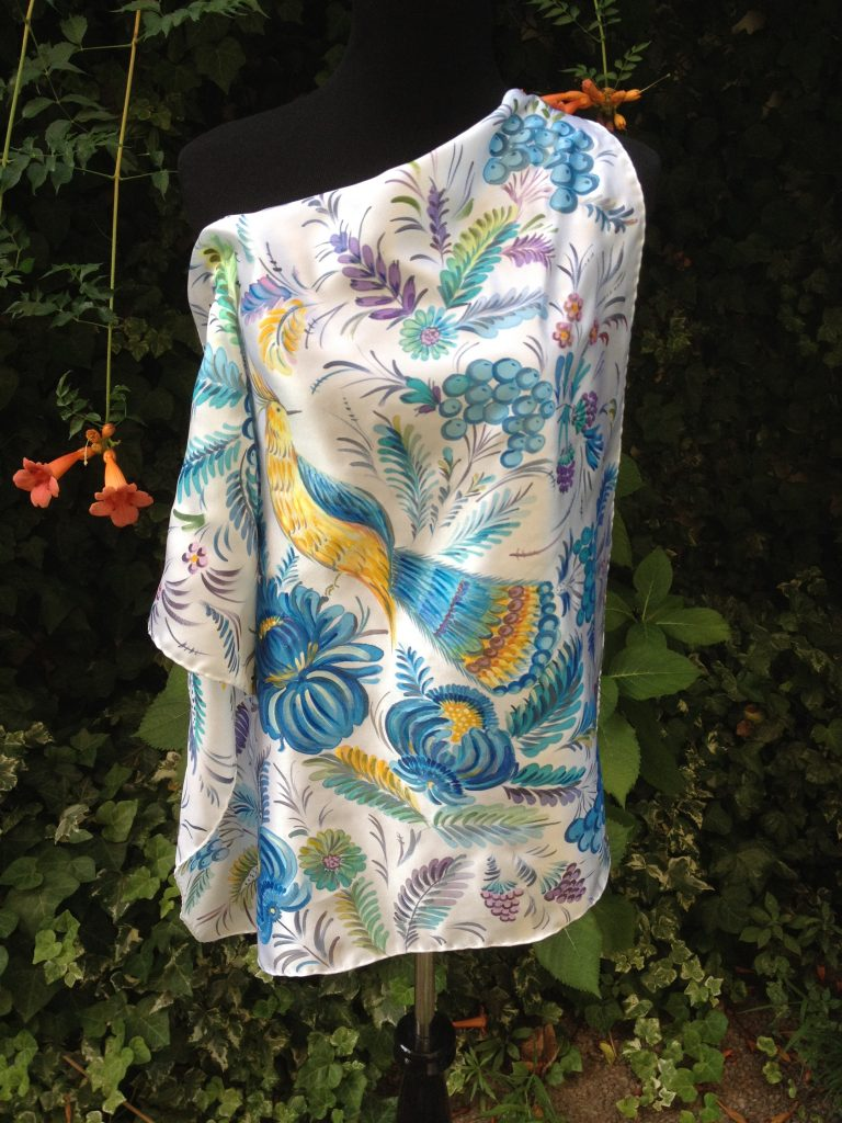 Blue flowers. Hand painted silk square scarf