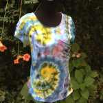 Yellow spirals. Ice-dyed t-shirt