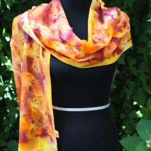 Autumn colours. Hand dyed velvet devore' silk-viscosa scarf