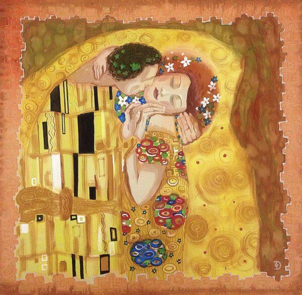 The Kiss Klimt. Hand painted silk square scarf with original interpretation of Gustav Klimt's masterpiece.