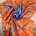 The magic creature. Hand painted silk square scarf.