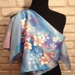 The Spring. Hand painted silk square scarf.