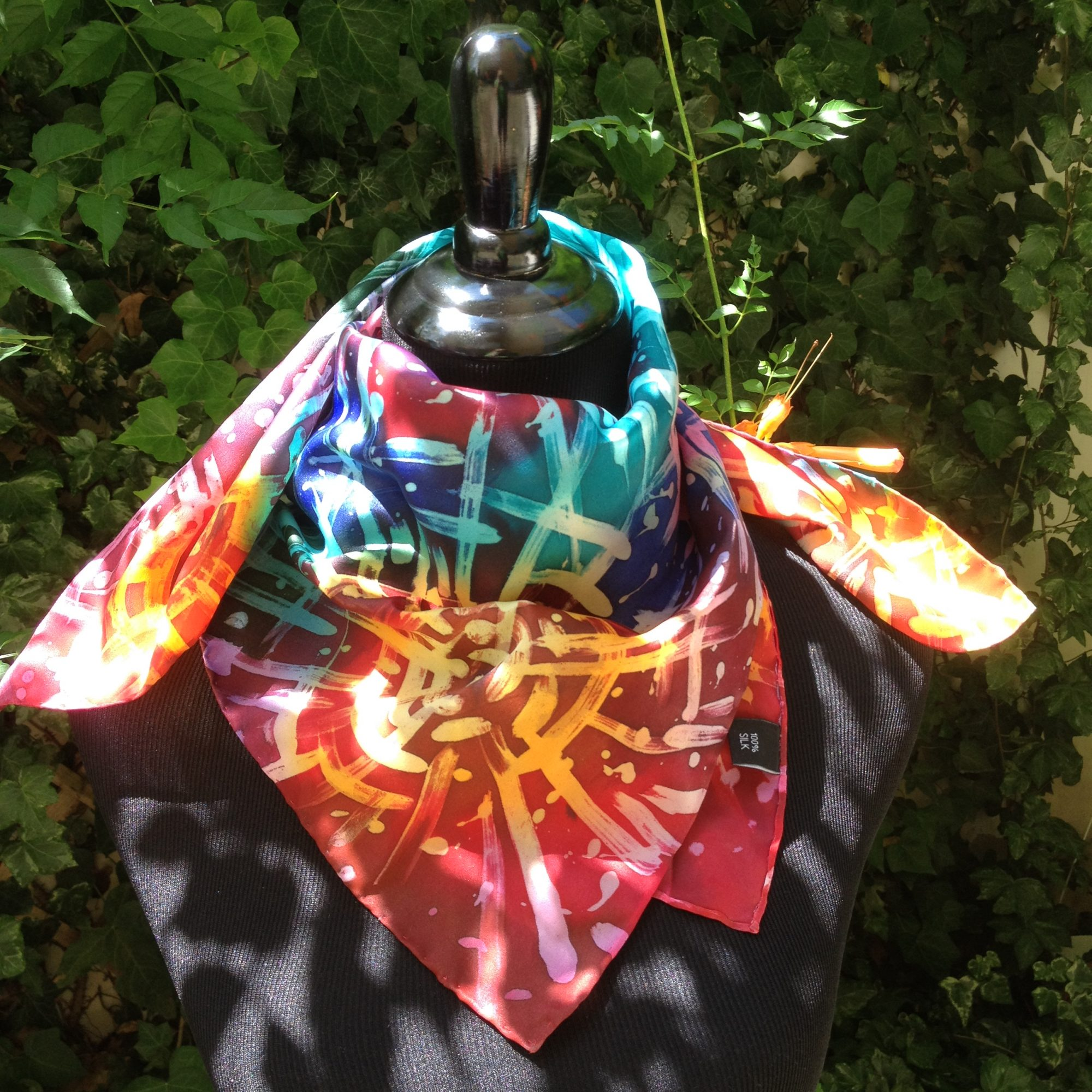 Fireworks. Hand painted silk square scarf.