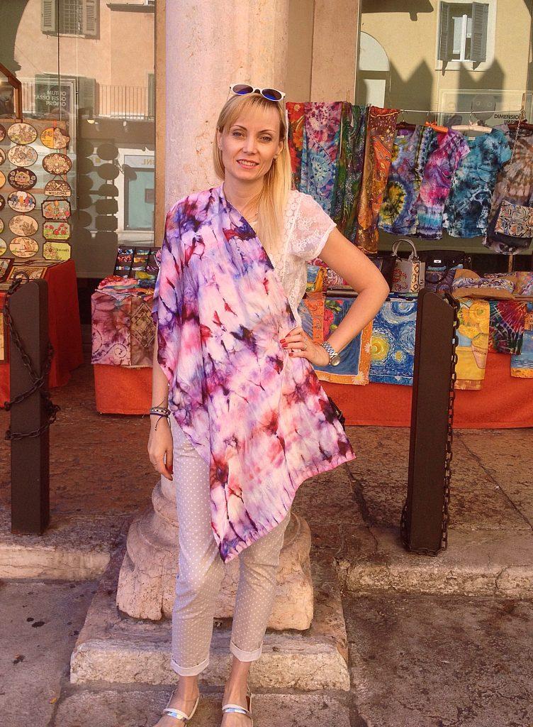 Purple shibori. Hand painted silk scarf.