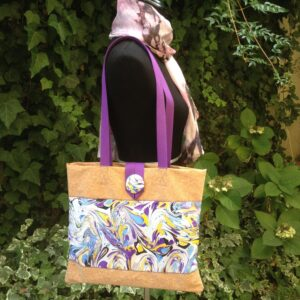 Hand-made silk and cork bag