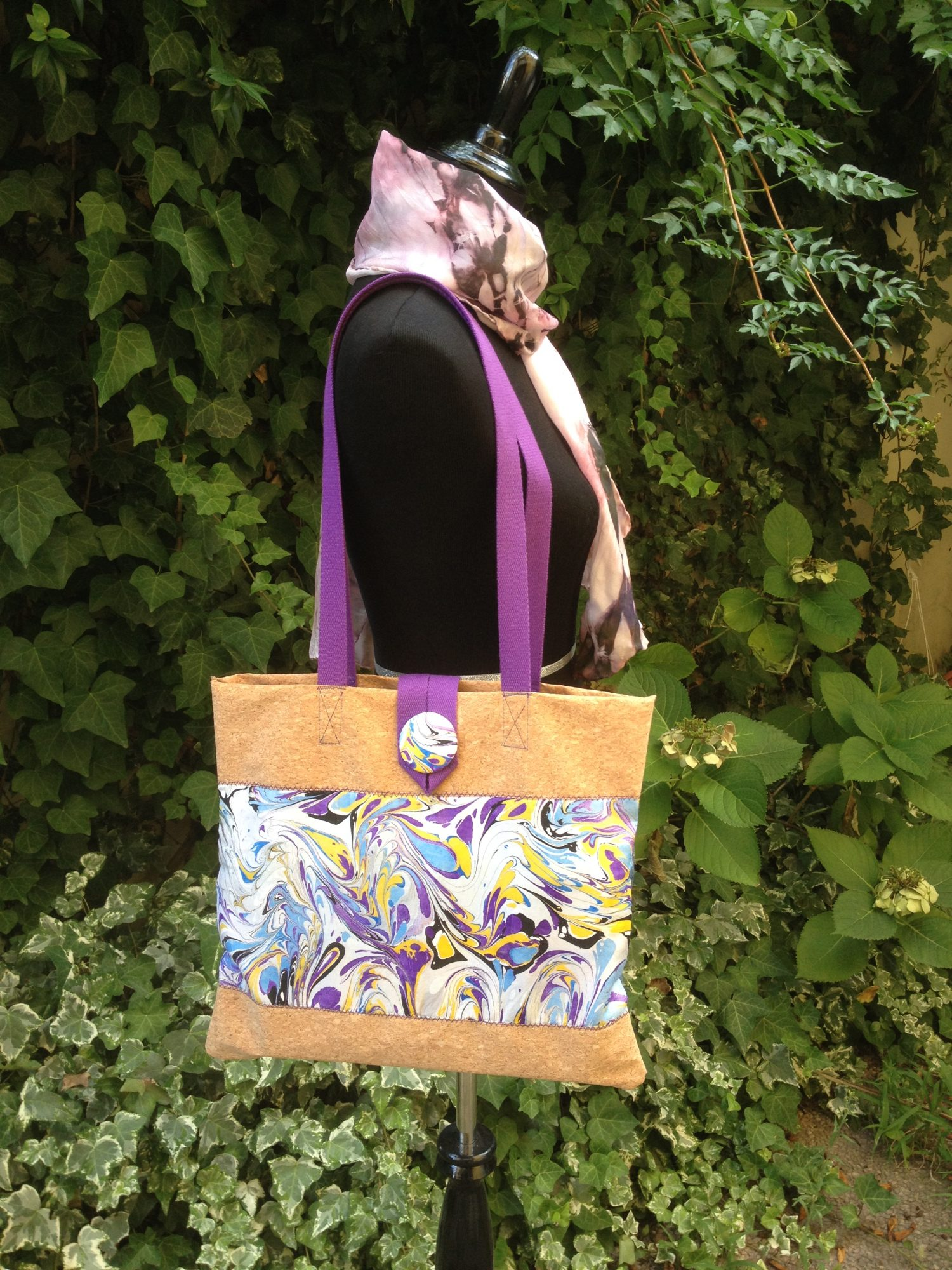 9772b9bfdbe5 hand painted silk and cork bag
