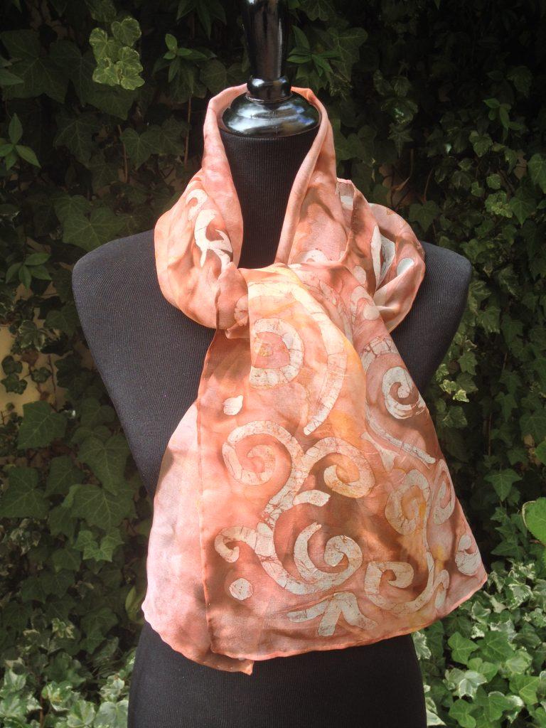 Arabesque. Hand painted 100% silk scarf