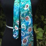 Acquamarina. Hand painted pure silk tie for men