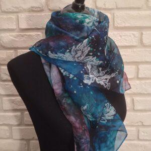 Petrolio. Hand painted 100% silk scarf