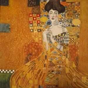 Golden Adele. Hand painted silk square scarf original interpretation of Gustav Klimt's Portrait of Adele Bloch-Bauer I