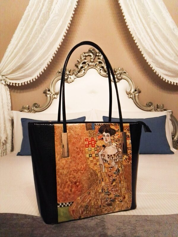 Woman in gold. Hand painted bag.