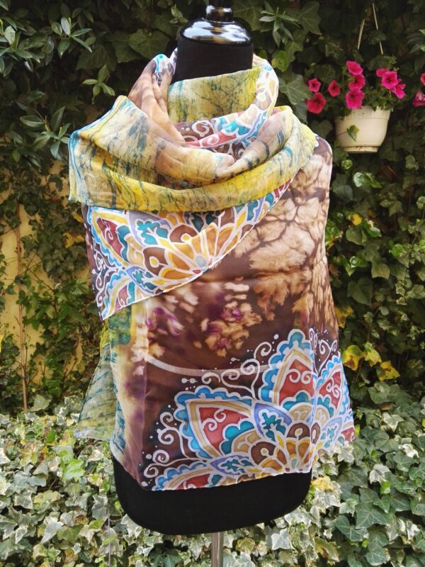 Magic mandala. Hand painted 100% silk scarf.