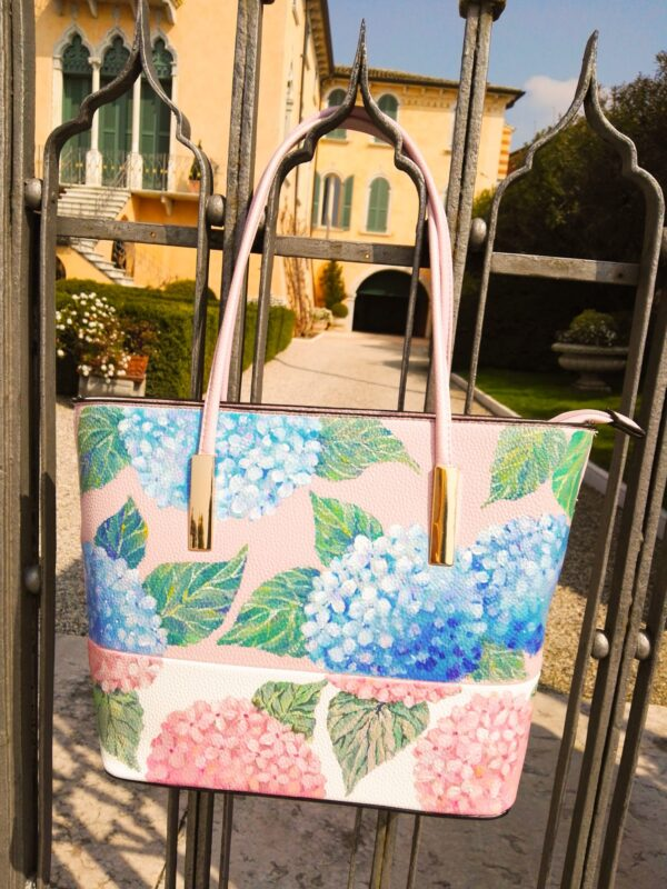 Hydrangea. Hand painted bag