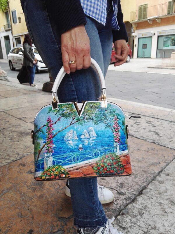 Capri. Hand painted faux leather bag.
