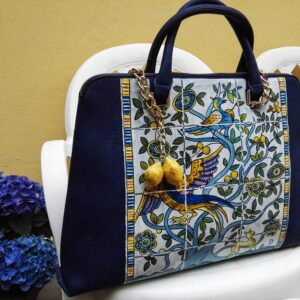 Azulejos. Hand painted faux leather bag