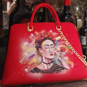 Frida. Hand painted faux leather bag