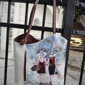 Let's go shopping. Hand painted real leather bag/backpack