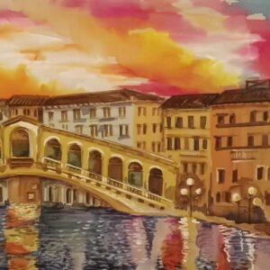 Rialto bridge. Hand painted 100% silk scarf