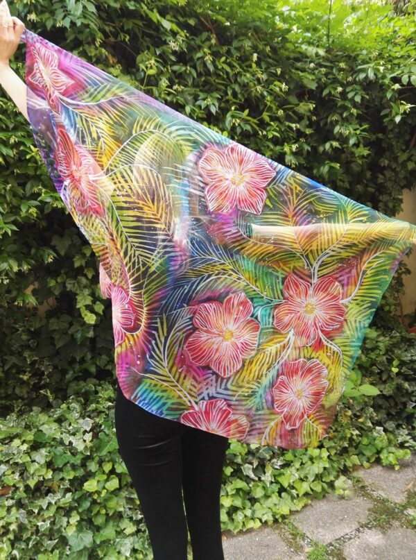 Exotic flower. Hand-painted 100% natural silk scarf.