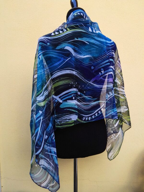 Waves. Hand painted 100% natural silk scarf