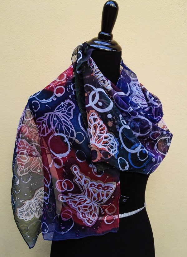 Butterflies and bubbles. Hand painted 100% silk scarf
