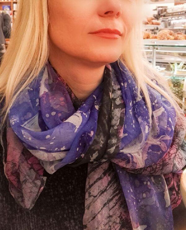 Swallows. Hand painted pure silk scarf.