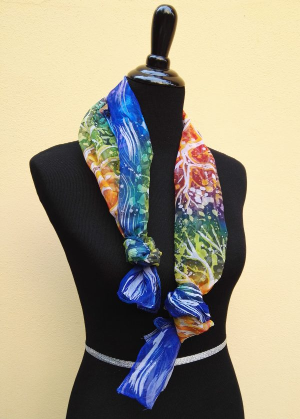 3 trees. Hand painted 100% silk scarf with original design