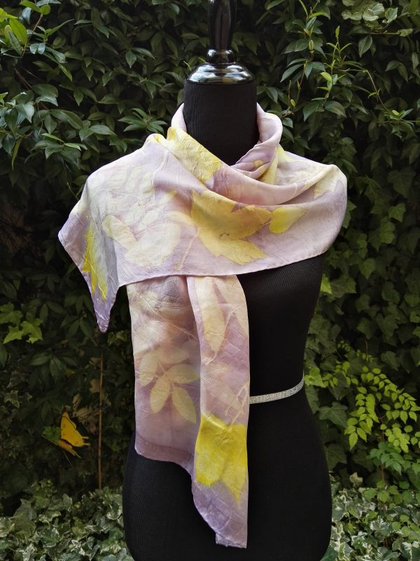 Delicate autumn. Hand dyed 100% silk scarf with ecoprint