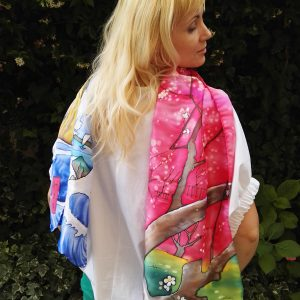 Japanese spring. Hand painted 100% silk long scarf