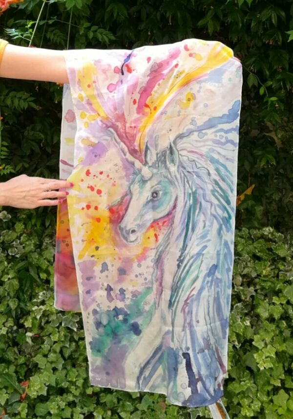 The Magic Unicorn hand painted silk scarf. Original author's painting on silk watercolor effect. Best gift for birthdays