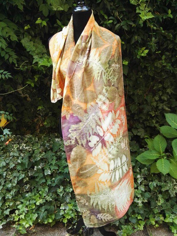 Orange bronze autumn botanical print 100% silk scarf