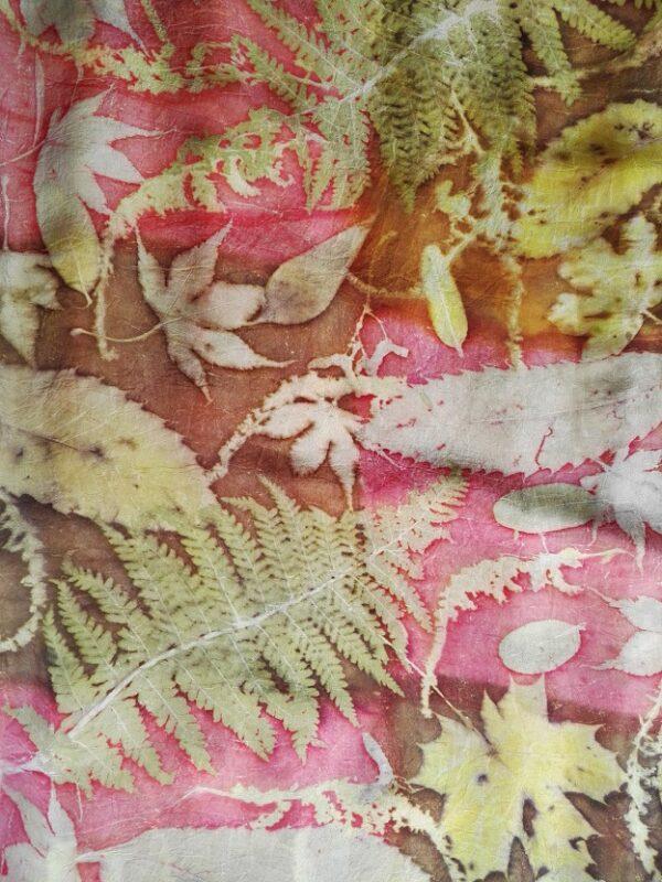 Red and bronze botanical print handdyed 100% silk scarf