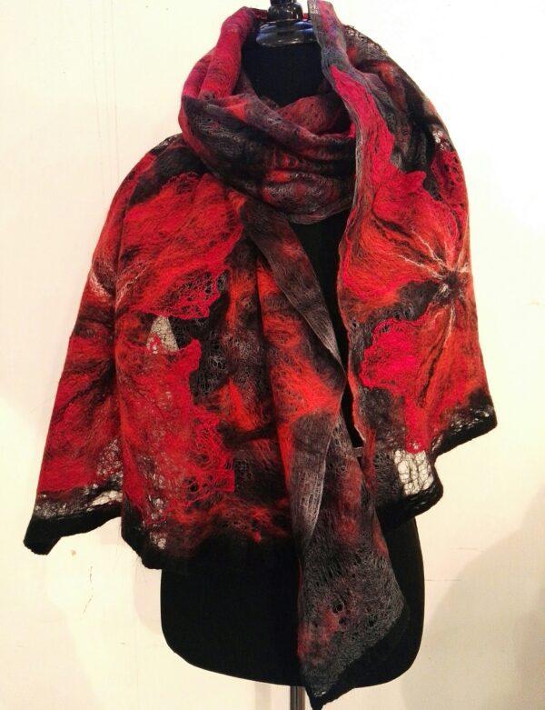 Big red flower nunofelted silk and merino wool shawl/stole/scarf