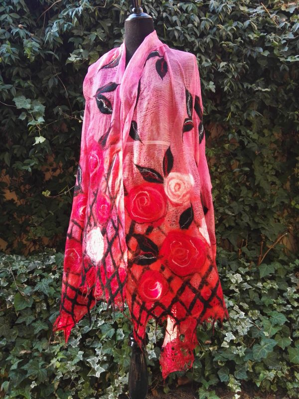 Red roses for you. Wetfelted margilan silk and merino wool stole/scarf/shawl/ wrap
