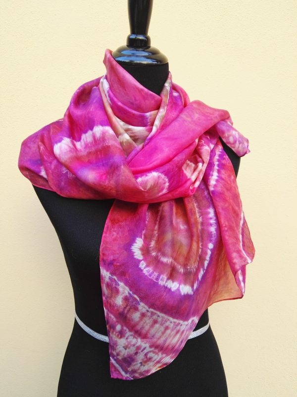 Shibori tie dye hand dyed long silk scarf. Original authentic accessory to combine modern outfit. Colorful accent of you look.