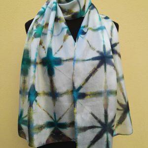 Itajime shibori hand dyed 100% silk scarf.
